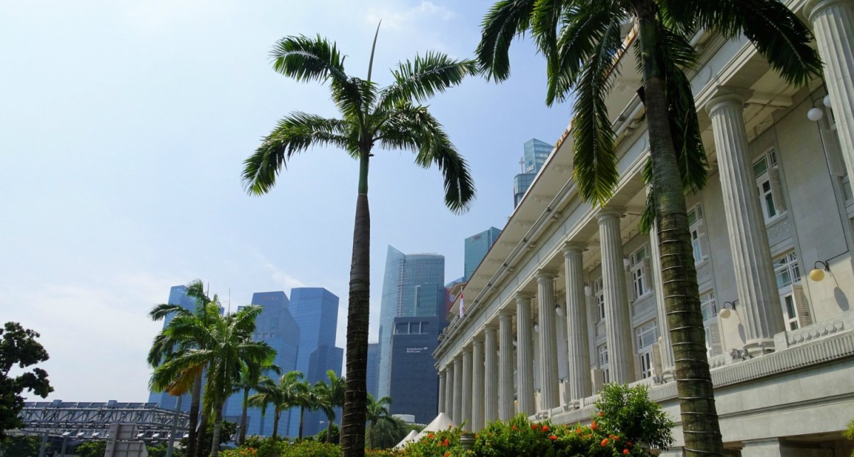 Singapore, palm trees, financial district, historical building