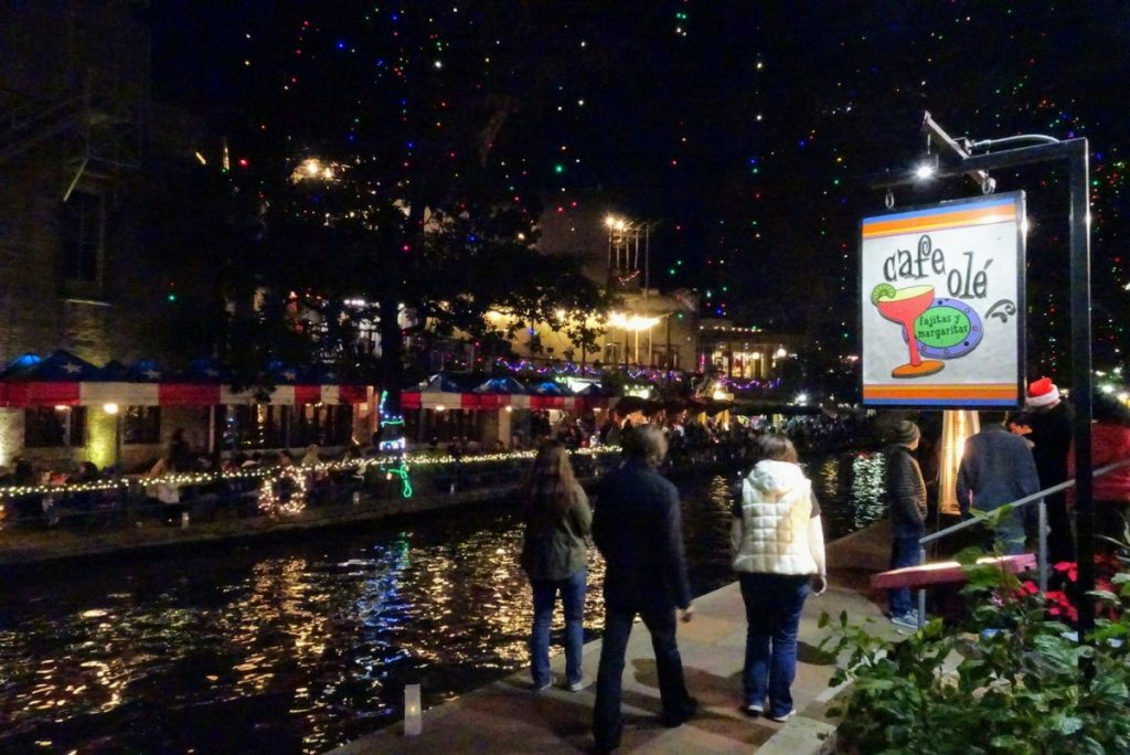 The famous Riverwalk with holiday lights